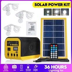 Комплект Генератора панели солнечной энергии, bluetooth колонка, USB зарядное устройство, домашняя система, 3 светодиодный лампы для наружного ос...