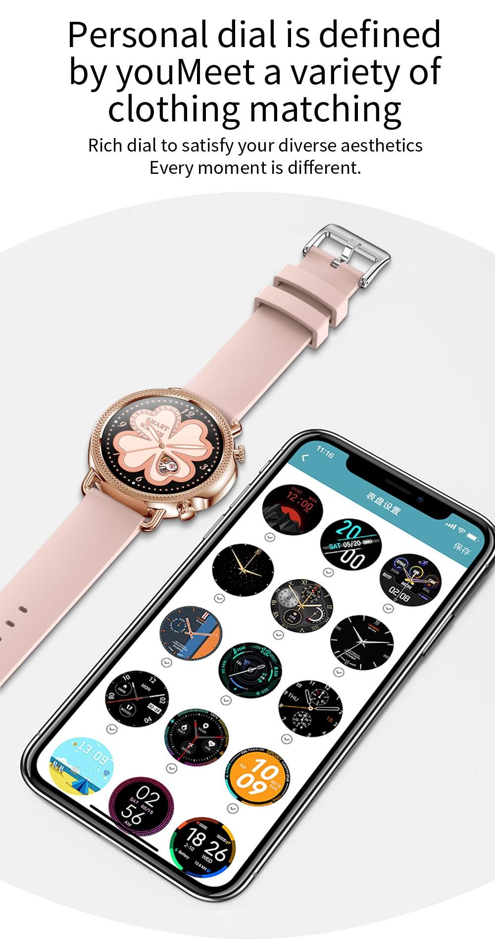 Hd7432652c40f46f988ed17eb823efba2l 2021 Women Smart Watch 1.28 inch HD Screen IP67 Waterproof Lady's Watches Body Temperature Heart Rate Monitor PK V23