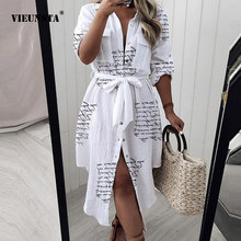 Casual Letter Print Button Lady Shirt Dress Spring Summer Long Sleeve Beach Long Dress Women Elegant Belted Tie-Up Party Dresses