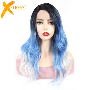 Image 5 - Ombre Brown Blonde Pink Synthetic Lace Front Wigs Long Body Wave Side Part Blue Grey Cosplay Hair Wig X TRESS African Hairpiece