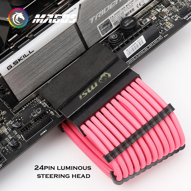 Computer M/B ATX Power Supply 24Pin 90 Degree Connector Adapter, Steering Head DIY MOD Mounting Accessories Wiring Artifact 2