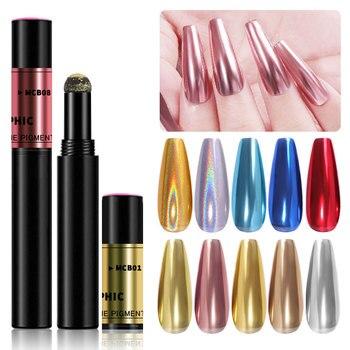 2020 el más nuevo arte de uñas de manicura maquillaje Gel UV cromo holográfica efecto espejo Metal en polvo cojín de aire polvo mágico de la pluma