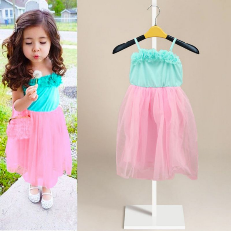 Summer Baby Girl Dress Sweet Cute Pink Kids Girl High Waist Dress Fashion Polyester Mesh Children Clothing