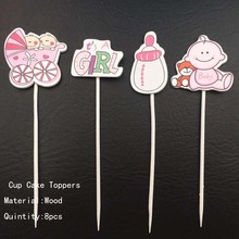4pcs Cake Topper Baby Shower Happy Birthday Boy or Girl Party Pacifier Stroller Wood Decorations Kids Toys