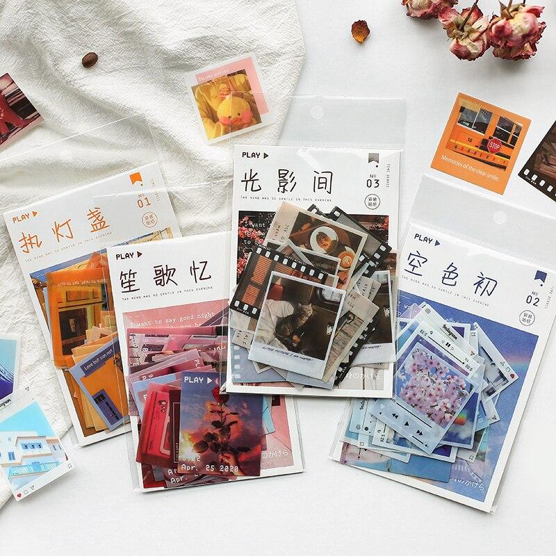 40pcs/pack Decorative Sticker Set Vintage Leisure Life Pattern Adhesive Stickers Diy Craft Label For Scrapbook Album Diary Book