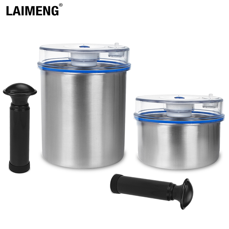 Laimeng Vacuum Container For Food Storage Containers Airtight Stainless Canister With Pump Work With Vacuum Sealer 2pcs/Lot S164