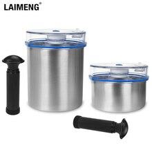Laimeng Vakuum Behälter Für Lebensmittel Lagerung Container Luftdichten Edelstahl Kanister mit Pumpe Arbeit mit Vakuum Versiegelung 2 teile/los S164