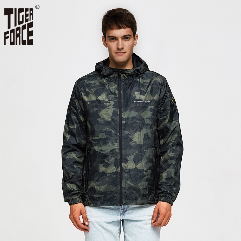 TIGER FORCE Spring Men Casual Jacket Hooded Camouflage Jacket With Print Men's Windbreaker Coat Male Army Camo Outwear