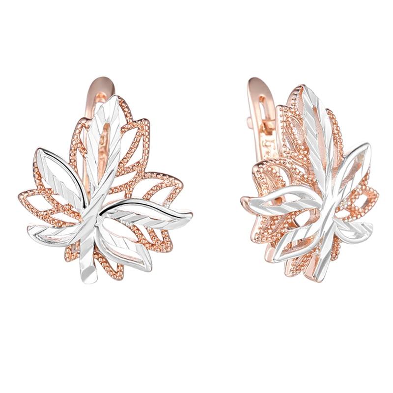 FJ 2 Style White 585 Rose Gold Color Leaf Shaped Plant Earrings Stud Earrings GIft