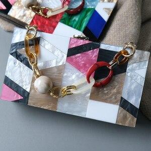 Image 4 - New Women Messenger Bags Brand Fashion Luxury Acrylic Geometric Lattice Patchwork Handbag Party Prom Clutch Woman Evening Bag