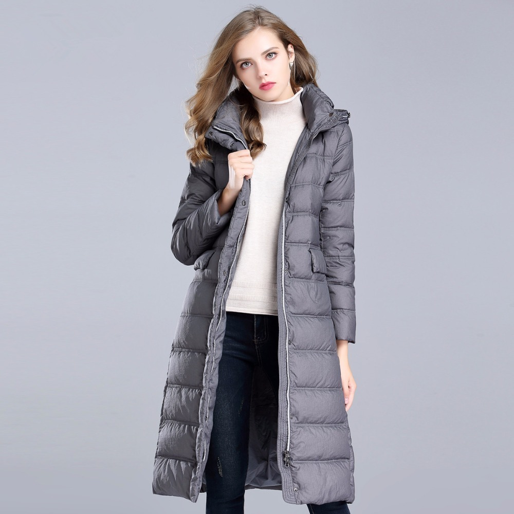 90% 2020 White Duck Down Jacket For Women Winter Thick Warm Jackets Hooded Long Slim Ladies Coats Parka Outerwear P818 S