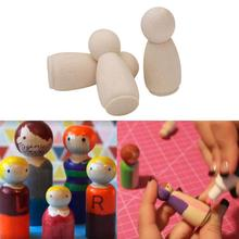 10pcs Solid Hard Wood People Same Size Natural Unfinished Ramp Preparation Paint Or Stained Wooden Family Peg Dolls