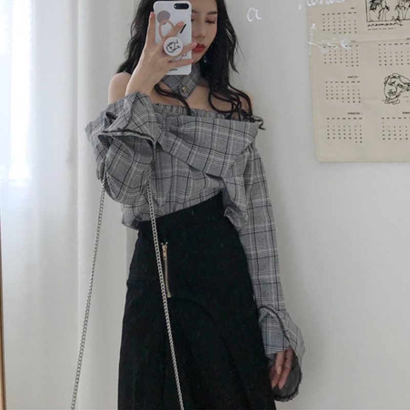 2019 New Off Shoulder ฤดูร้อนเซ็กซี่เสื้อแฟชั่นคอลายสก๊อตเสื้อ Flare Sleeve Tops หญิง yy326