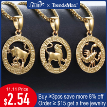 Mens Womens 12 Horoscope Zodiac Sign Gold Pendant Necklace Aries Leo Wholesale Dropshipping 12 Constellations Jewelry GPM24