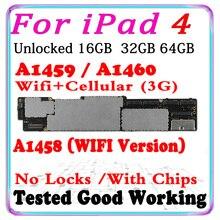 A1458 A1459 A1460 Wifi i wersja komórkowa oryginał dla iPad 4 płyta główna odblokowany iCloud czyste dla iPad 4 tablica logiczna z chipami