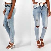 Женские джинсы стрейч rebicoo синие хлопковые брюки карандаш