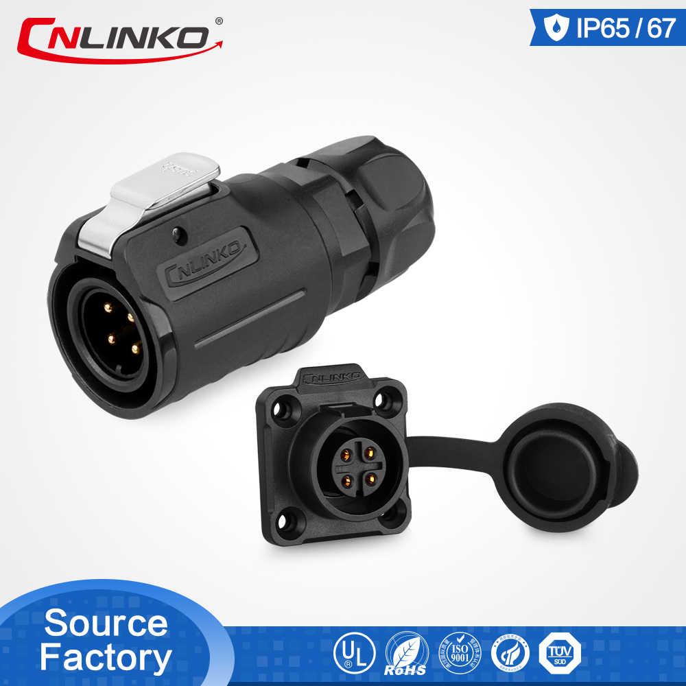 CNLINKO 4Pin IP67 wodoodporna uszczelniona okrągła energia elektryczna wtyki i gniazda 12V DC mocowanie panelu plastikowy do kabla