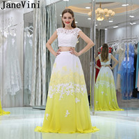 JaneVini Candy Color Yellow Homecoming Beaded Dresses White Gradient Chiffon Junior Dresses Two Pieces Long Formal Gowns 2019