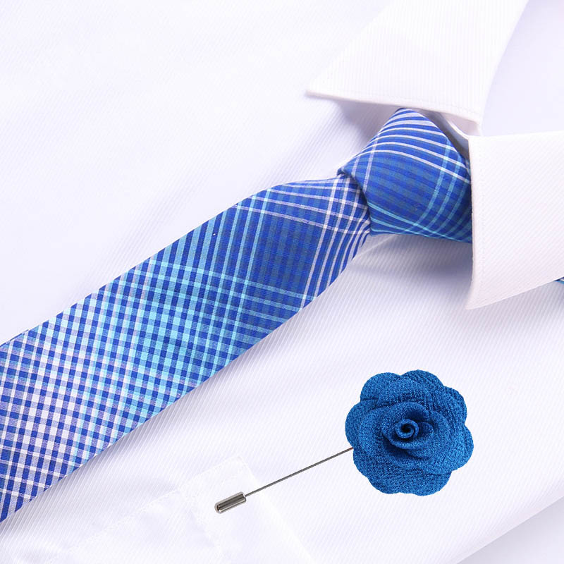 6.5cm Mens Business Cotton Tie Formal Gromertric  Jacquard Wedding Necktie Narrow Classic & Flower Pin