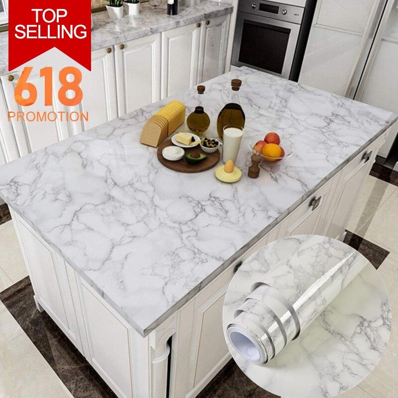 Kitchen Oil-Proof Stickers High Temperature Cooktop Self-Adhesive Tiles Cabinet Countertop Range Hood Marble Waterproof Stickers