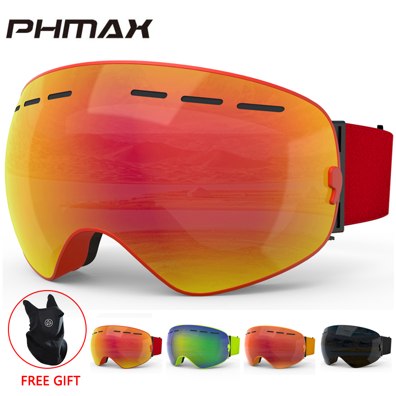 PHMAX Ski Goggles With Ski Mask Men Women Snowboard Goggles Glasses For Skiing UV400 Protection Anti-fog Snow Skiing Glasses