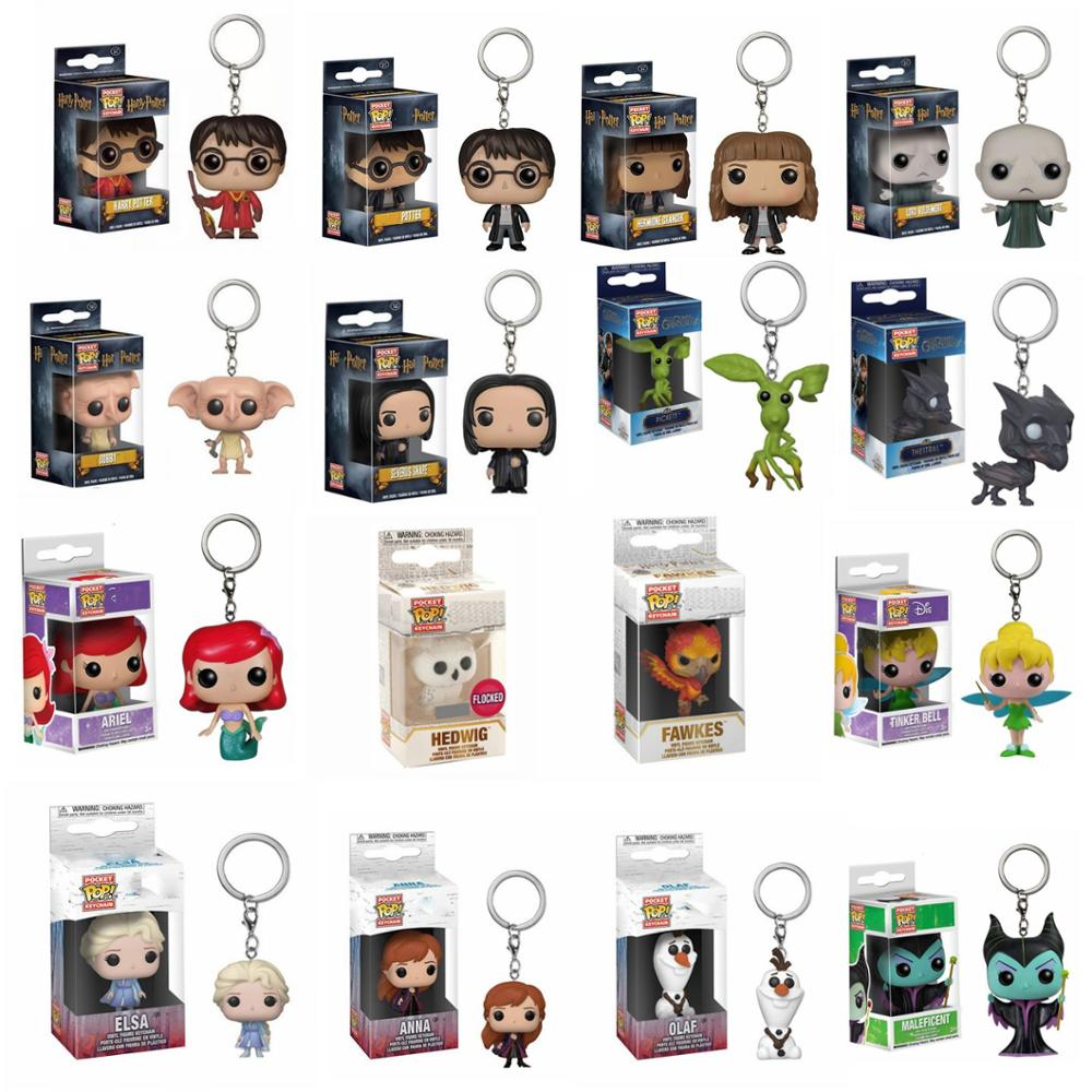 Funko Pop Disney Princess Elsa Anna Harri Potter Hedwig Hermione KeyChain Accessories Figures Fantastic Beasts Model Keyring Toy