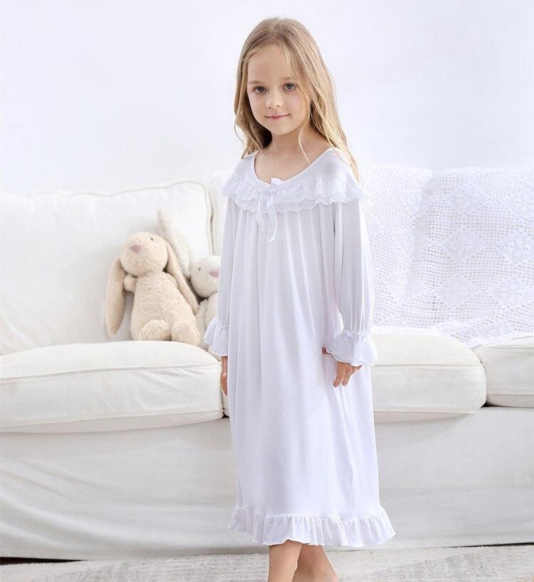 Quality Soft Kids Girls Pajama Dress Lace Princess Baby Girls Nightgown Cotton Night Dress Long Sleeve White Girls Home Wear