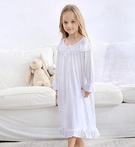 Vestido de pijama infantil feminino, vestido de pijama de qualidade, macio, laço, princesa, vestido de noite, algodão, manga longa, branco, roupa para meninas, casa
