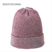 HANGYUNXUANHAO Female Cashmere Winter Hat knitted Skullies Beanies For Women Wool Thick Warm Girls Gorros