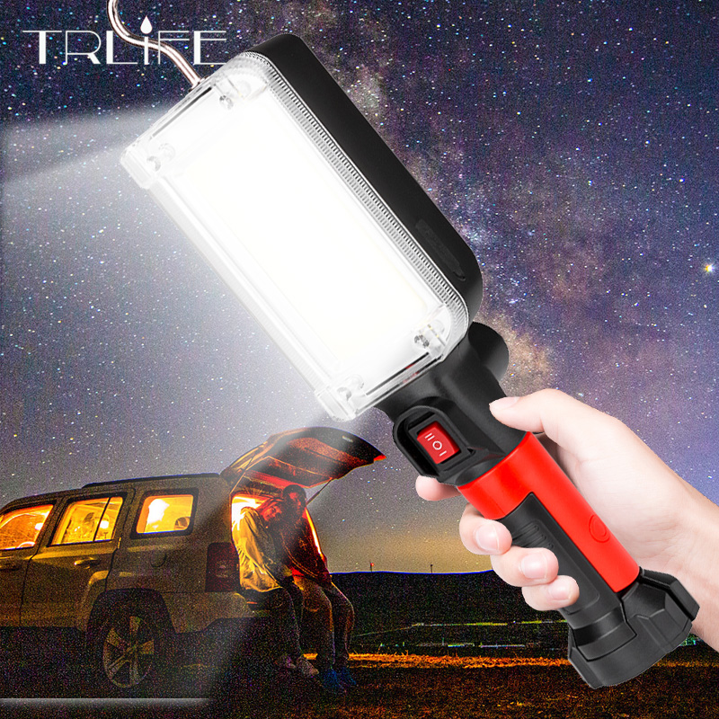 8000lm Flashlight 18650 Torch USB Rechargeable COB Work Light with Magnet Hook Camping Tents Work Maintenance Lantern LED Torch