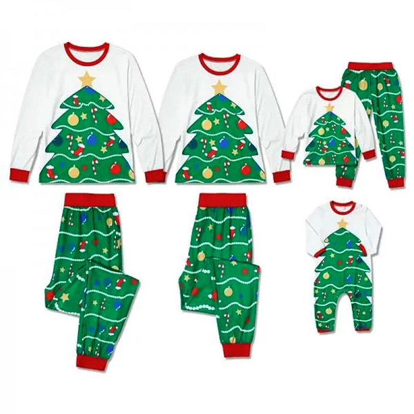 Autumn Winter New Family Matching Christmas Pajamas Set Women Men Kid Christmas Tree Print Sleepwear Nightwear Homewear Costume