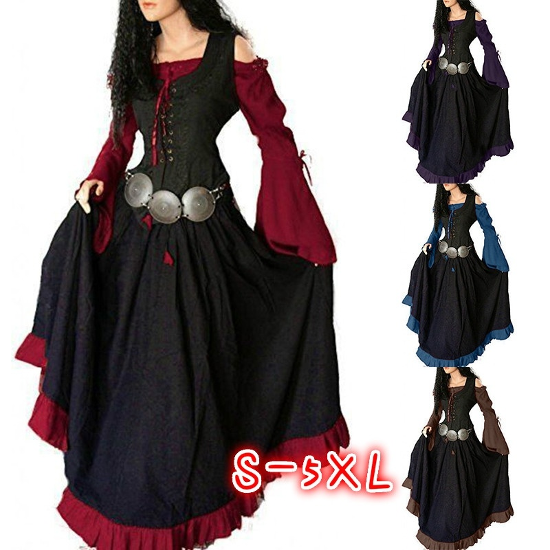 Cosplay Costume Women Gothic Medieval Dress Off The Shoulder Long Dress Vintage Dress Robe Collect Waist Lace Up Front Maxi Dres