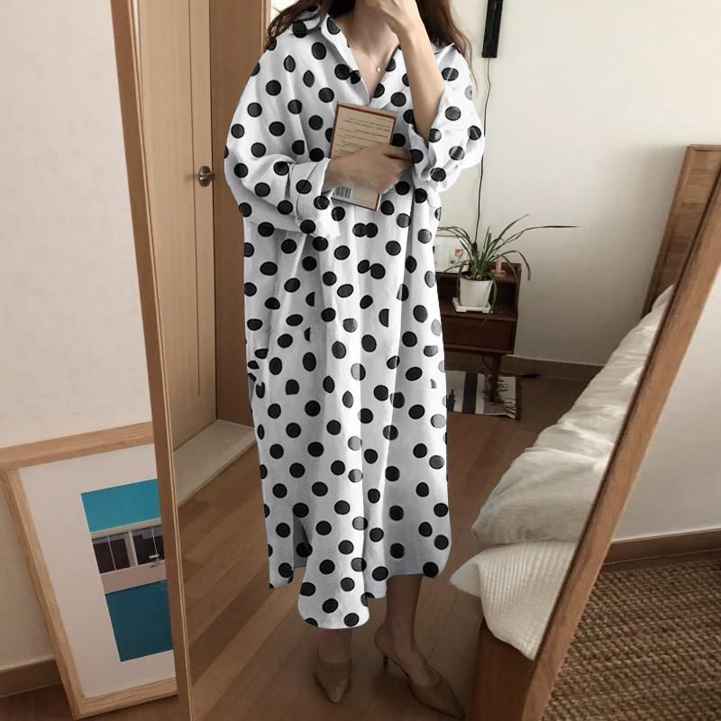 Vintage Printed Shirt Dress Women's Autumn Sundress ZANZEA Casual Long Sleeve Lapel Maxi Vestidos Female Button Robe Plus Size 7
