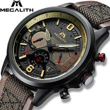 MEGALITH reloj de cuarzo nuevo para hombre, reloj de pulsera deportivo de cuero genuino militar, cronógrafo, luminoso, resistente al agua, Masculino