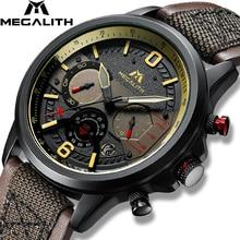 MEGALITH جديد ساعة كوارتز الرجال العسكرية جلد طبيعي الرياضة ساعة معصم كرونوغراف مقاوم للماء ساعة مضيئة Relogio Masculino