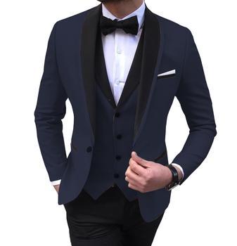Blue Slit Mens Suits 3 Piece Black Shawl Lapel Casual Tuxedos for Wedding Groomsmen Suits Men 2020 (Blazer+Vest+Pant) 16