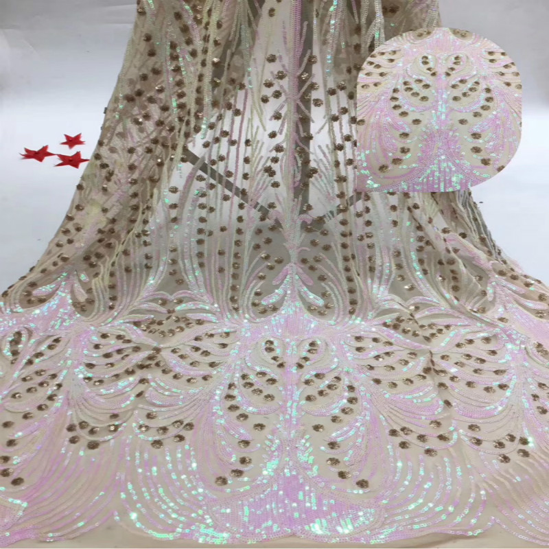 Flowing Beads Lace Fabric Mesh Embroidery Fashion Fabric Polyester Mesh Embroidery Fabric Dress Lace Fabric
