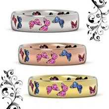 2020 moda criativa borboleta colorido anéis de casamento para mulher elegante multicolorido zircão glamour anel jóias presente da menina bijoux