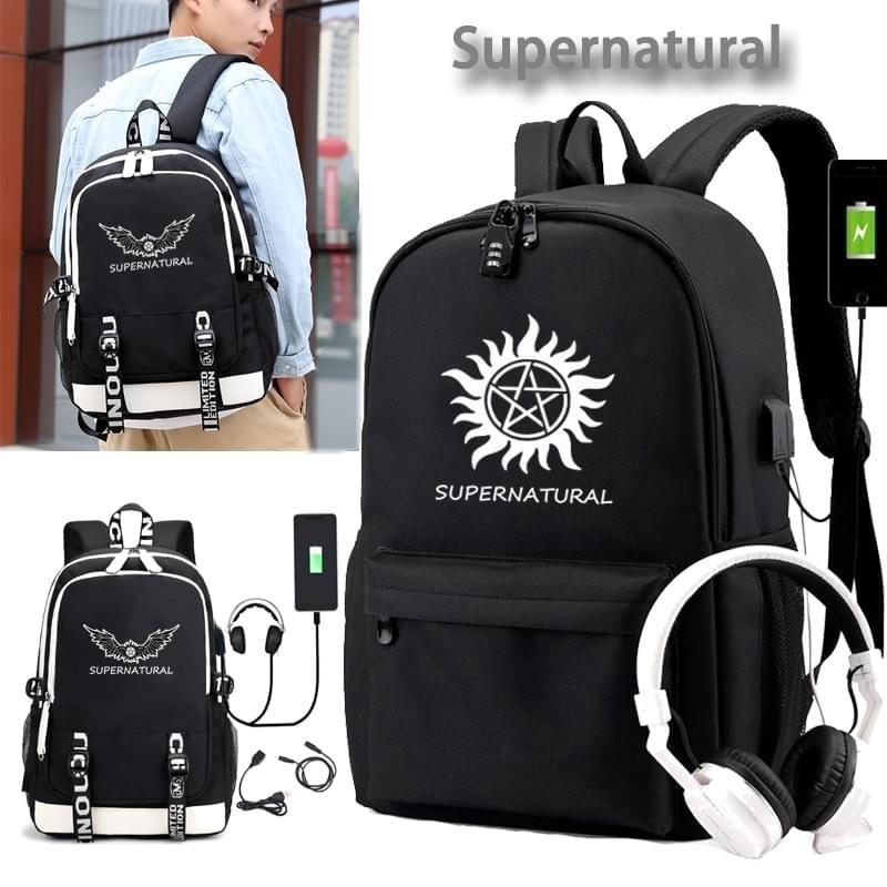 IMIDO Supernatural Style Backpack School Teenagers Usb Charging For Students Black Shoulder Backpacks Waterproof Boys Girls Bag