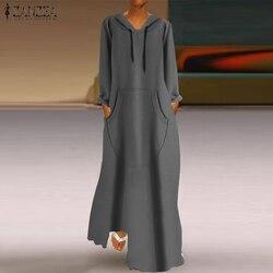 2021 outono feminino com capuz maxi vestido zanzea vintage manga comprida hoodies sweatshirts casual feminino vestido de verão plus size vestidos