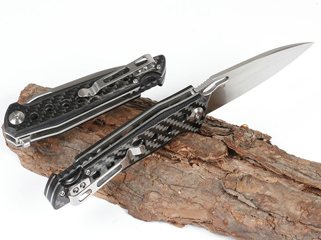 KESIWO folding knife D2 blade pocket camping hunting survival knives flipper carbon fiber tactical kitchen outdoor gift EDC tool 3