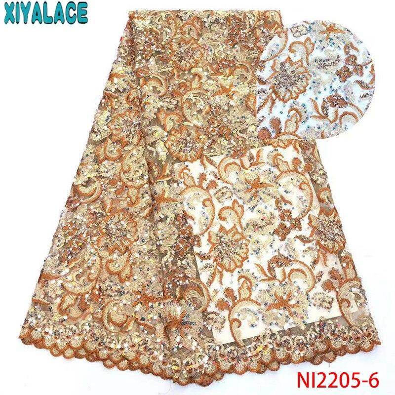 Derniers tissus en Tulle dentelle 2019, tissus en dentelle africaine de haute qualité, tissu en dentelle nigériane pour robes de mariée KSNI2205-3 - 3