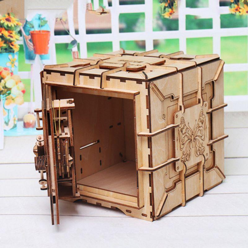 Image 5 - 3D Puzzles Wooden Password Treasure Box Mechanical Puzzle DIY Assembled ModelModel Building Kits   -
