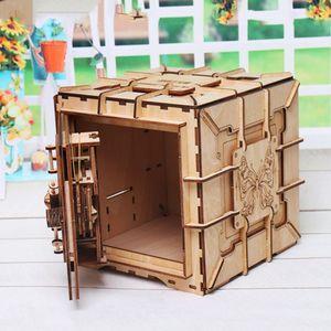 Image 5 - 3D Puzzles Wooden Password Treasure Box Mechanical Puzzle DIY Assembled Model