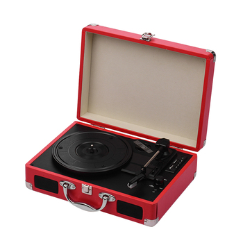 Portable Turntable Record Player Classic Suitcase Style 3 Speed Record Player with Stereo Speakers USB Port Memory Card Slot