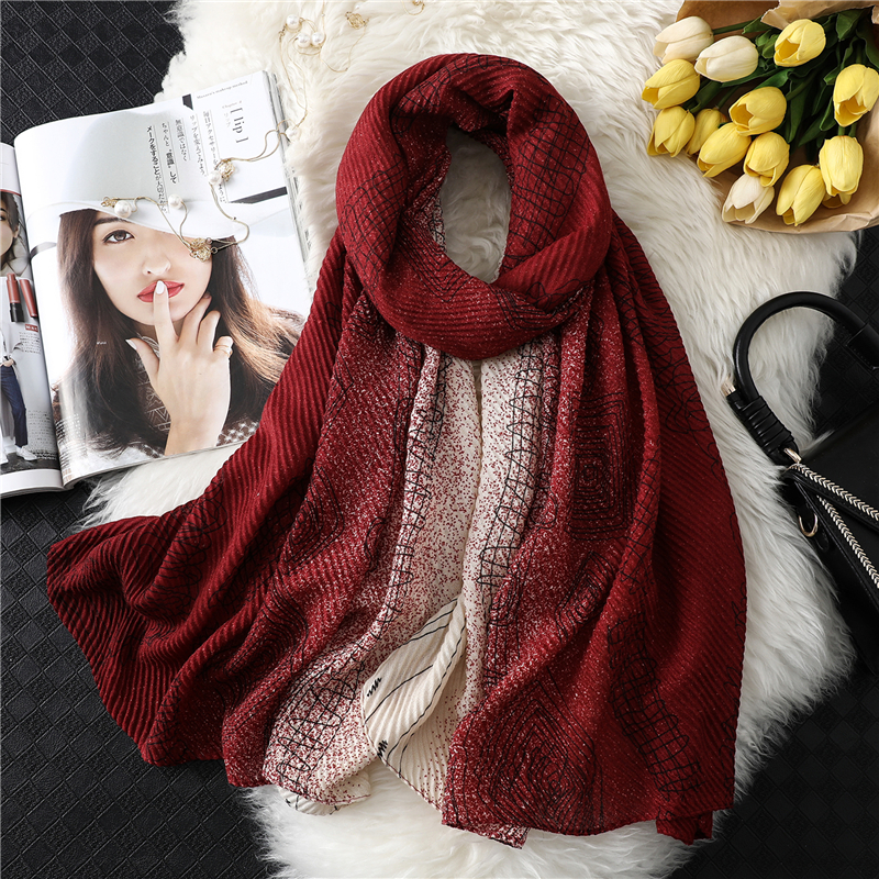 Fashion 2020 New Women Scarf Stripped Crinkle Hijabs Lady Headband Cotton Winter Warm Scarves Soft Long Size Fold Foulard