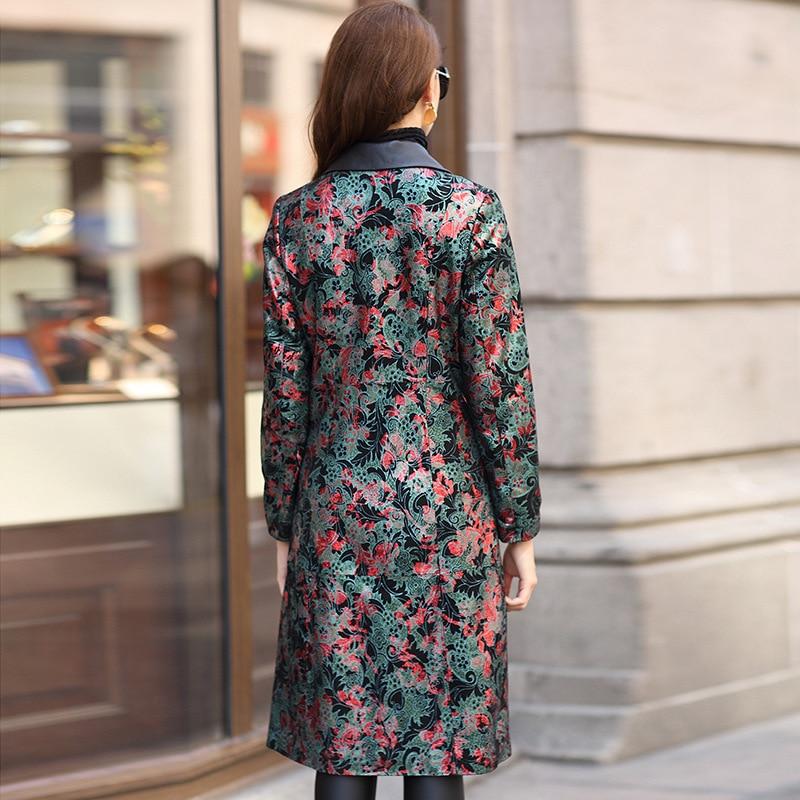 Genuine Leather Autumn Winter Jacket Women Real Sheepskin Female Print Floral Korean Trench Coat HQ12-YXG2183A YY334