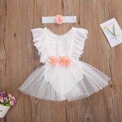 Bebê recém-nascido meninas branco macacão vestidos infantil sem mangas rendas flor uma peça em torno do pescoço macacão + headwear para 0-24 meses