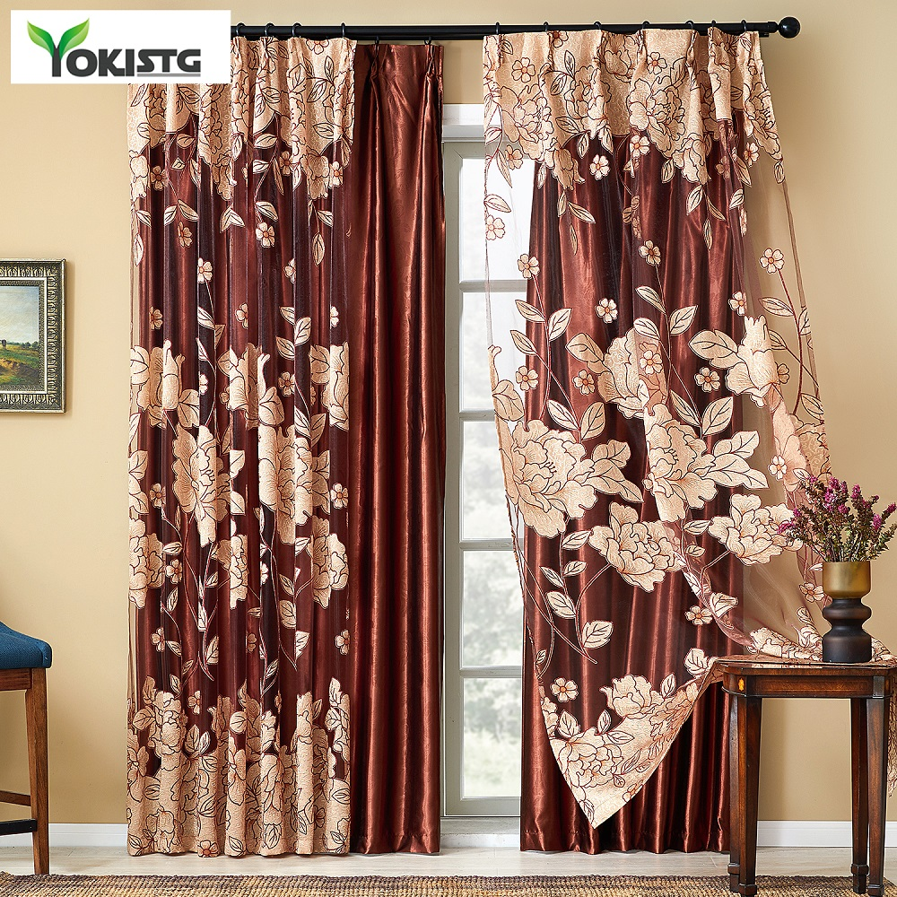 YokiSTG Modern Luxury Embroidered Sheer Curtains For Living Room Bedroom Kitchen Door Tulle Curtains Drapes Window Treatments