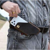 Funda de cuero para iPhone 12 11 Pro Max, cinturón portátil para exteriores, funda para teléfono móvil, grabado láser, texto personalizable